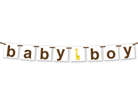 giraffe baby boy banner - Celebrating Together