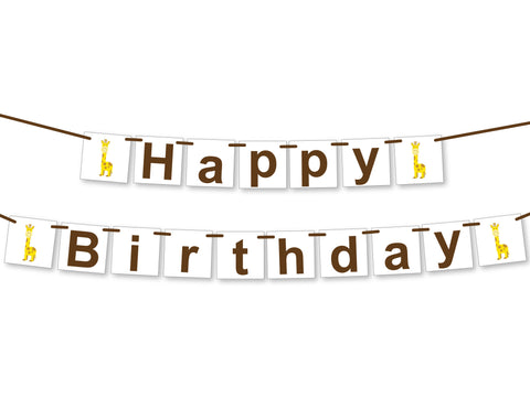 giraffe happy birthday banner - Celebrating Together