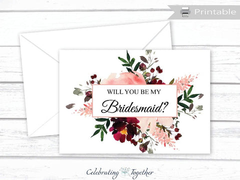 Printable Coral Watercolor Flower Will You Be My Bridesmaid Card