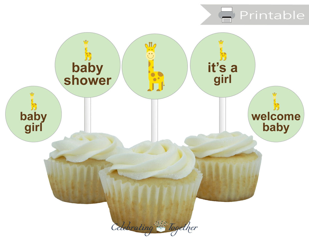 Printable Girls Giraffe Baby Shower Cupcake Toppers