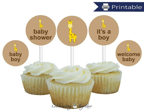 printable giraffe boys cupcake toppers - Celebrating Together