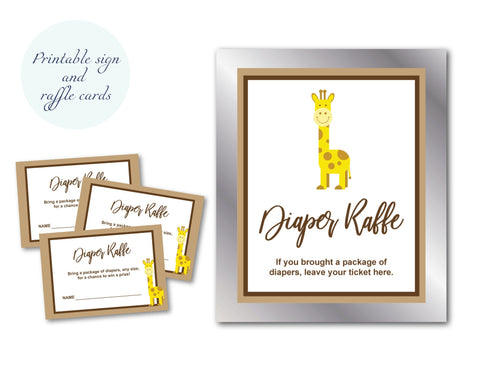 DIY giraffe diaper raffle sign and diaper raffle cards invitation inserts- Celebrating Together