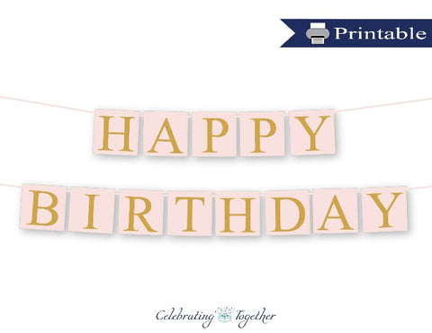 printable girls happy birthday banner - Celebrating Together