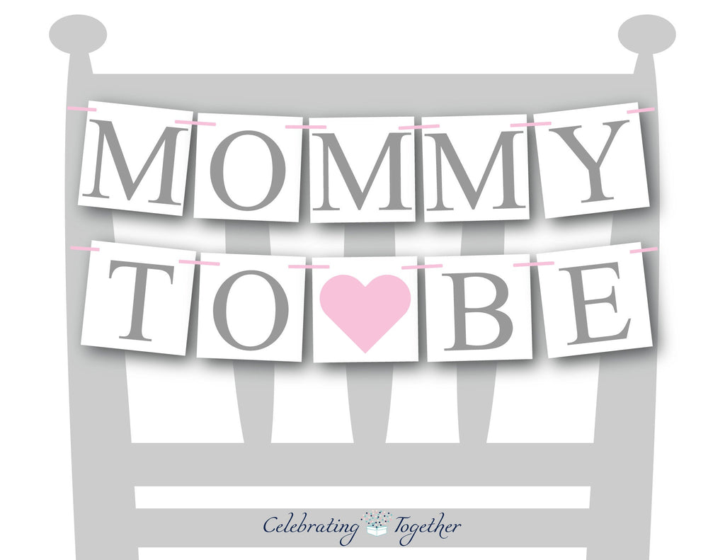 mommy to be chair banner - Pink hearts - Celebrating Together