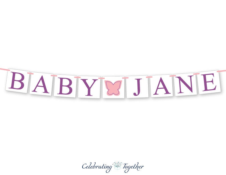 butterfly baby shower decoration - personalized name banner - Celebrating Together