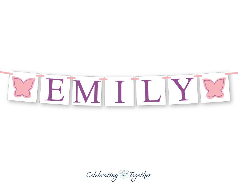 personalized name baby shower banner - butterfly themed baby shower decoration - Celebrating Together