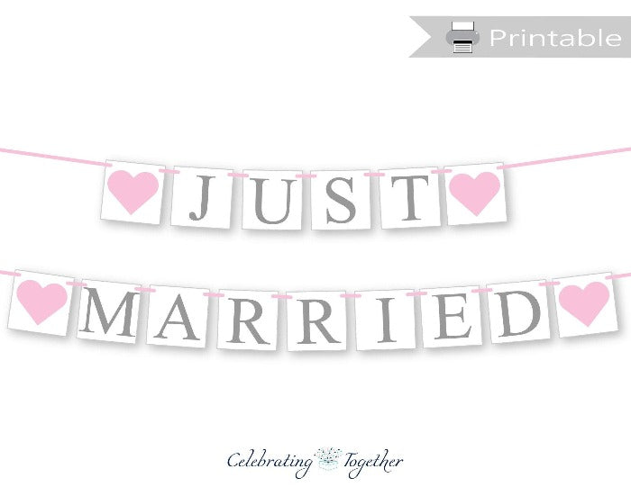 Printable Just Married Banner