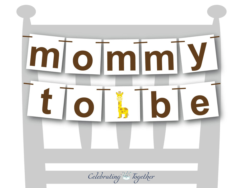 giraffe mommy to be chair banner - Celebrating Together