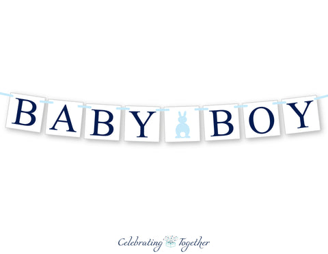 bunny rabbit baby boy banner - spring baby shower decorations - Celebrating Together