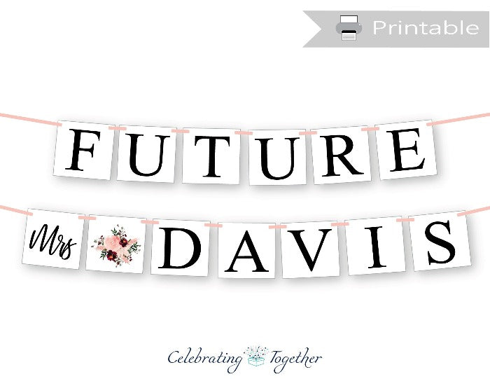 Printable Coral Watercolor Flower Future Mrs Banner