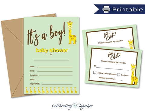 printable invitation and rsvp card set for boys baby shower - Celebrating Together