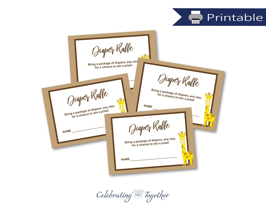 DIY giraffe diaper raffle cards - Celebrating Together