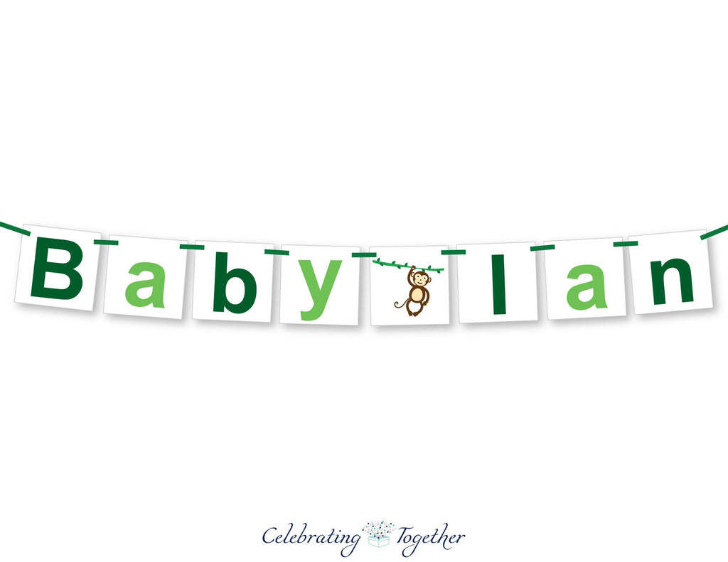 baby boy monkey baby shower banner - Celebrating Together