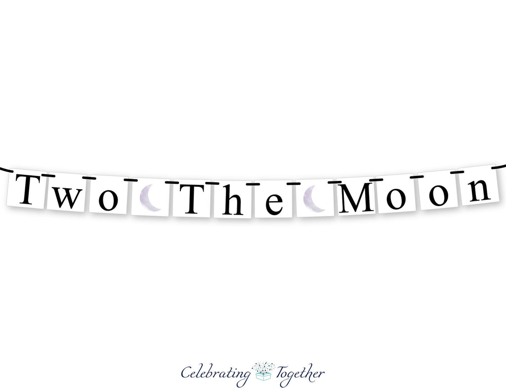 two the moom sign, 2nd happy birthday banner, girls solar system birthday sign, boys second birthday party decorations, planet bunting