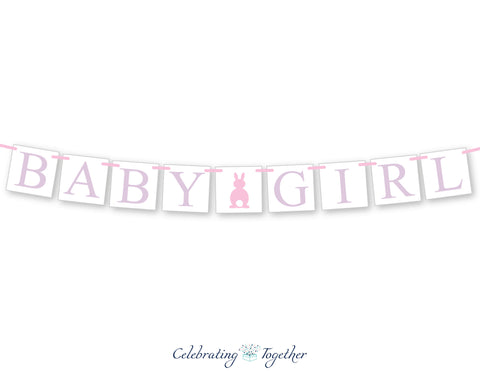 bunny rabbit baby girl banner - Celebrating Together