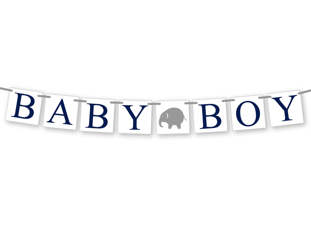navy and gray elephant baby boy banner - Celebrating Together
