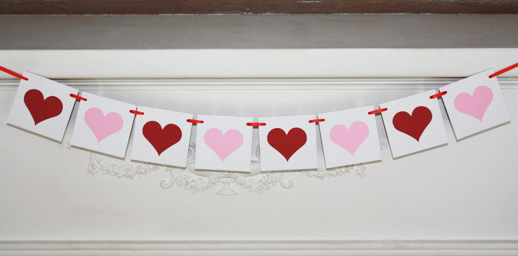 Pink and Red Heart Banner, xo xo wedding banner, valentines day love banner, photo prop for bridal shower banner, baby shower decorations