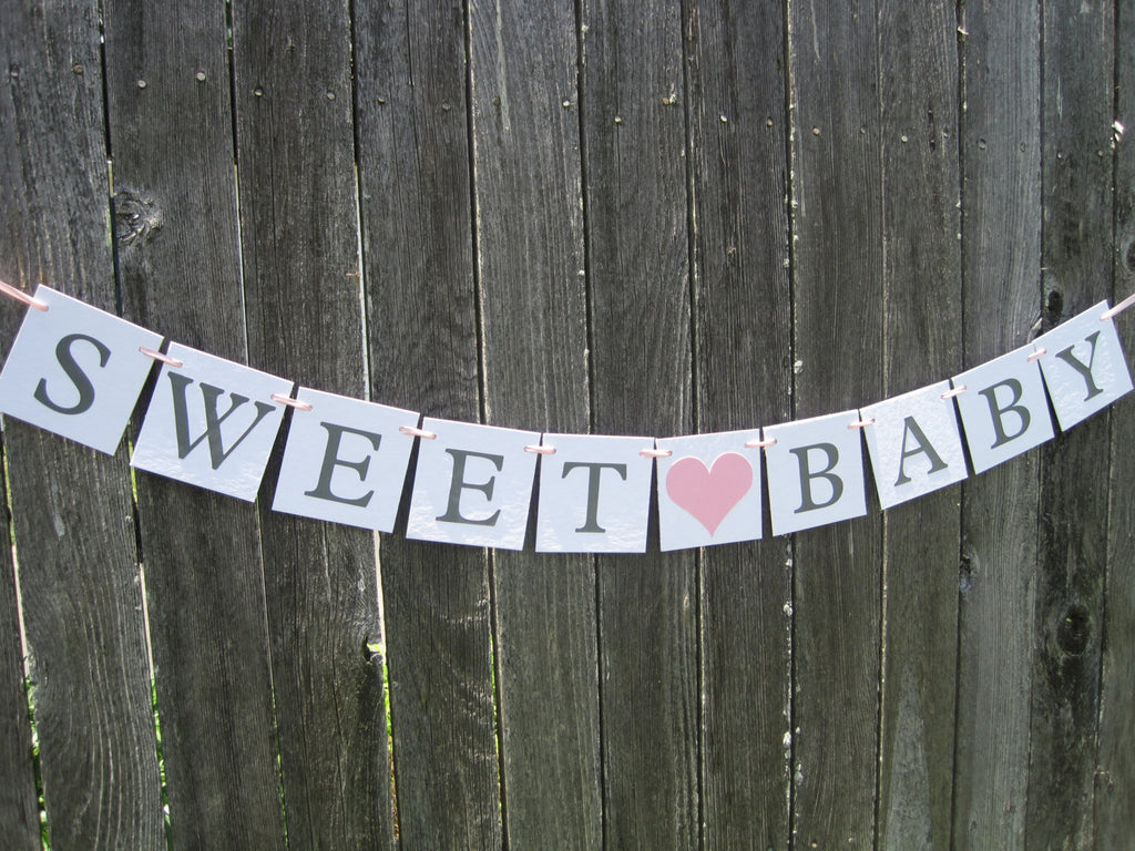 Sweet Baby banner, Its a Girl bunting, welcome baby garland, baby shower decorations, baby girl banner, pink and gray baby shower banner