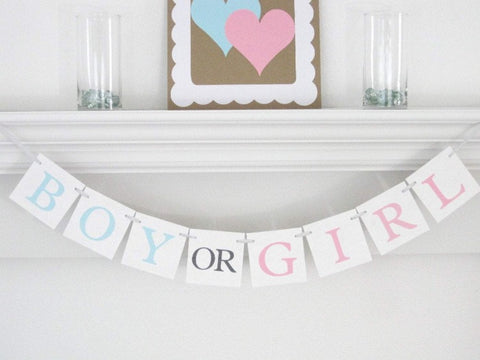 boy or girl gender reveal party decoration - baby shower banner - Celebrating Together