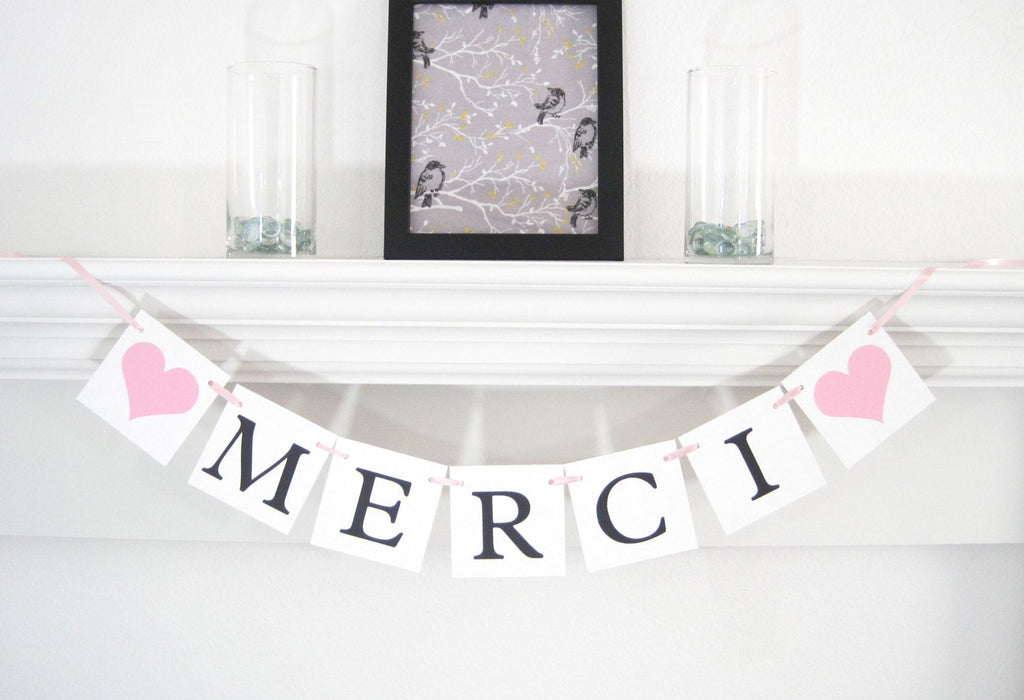 Merci Banner, Merci thank you sign, Thank you banner, wedding banners, thank you photo prop banner, merci sign, french wedding decor
