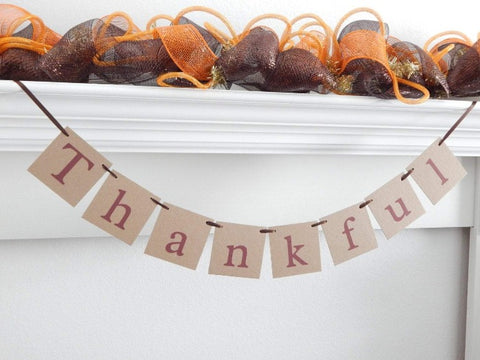 rustic thankful banner - Fall decor - Celebrating Together