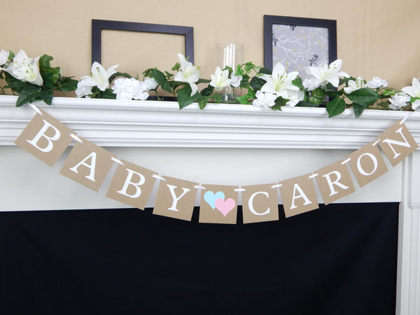 Personalized Name Gender Reveal Banner - Celebrating Together