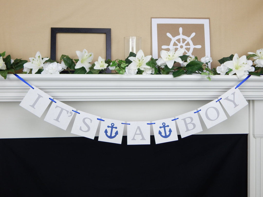 Its A Boy Banner, Baby Boy Banner, Baby Shower Banner, its a boy sign, anchor baby shower decorations, baby boy banner, nautical baby shower