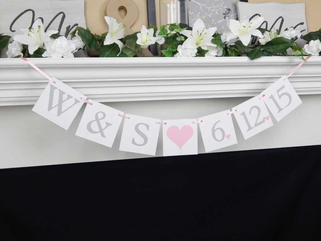 Save The Date Bride And Groom Initial Banner - Celebrating Together