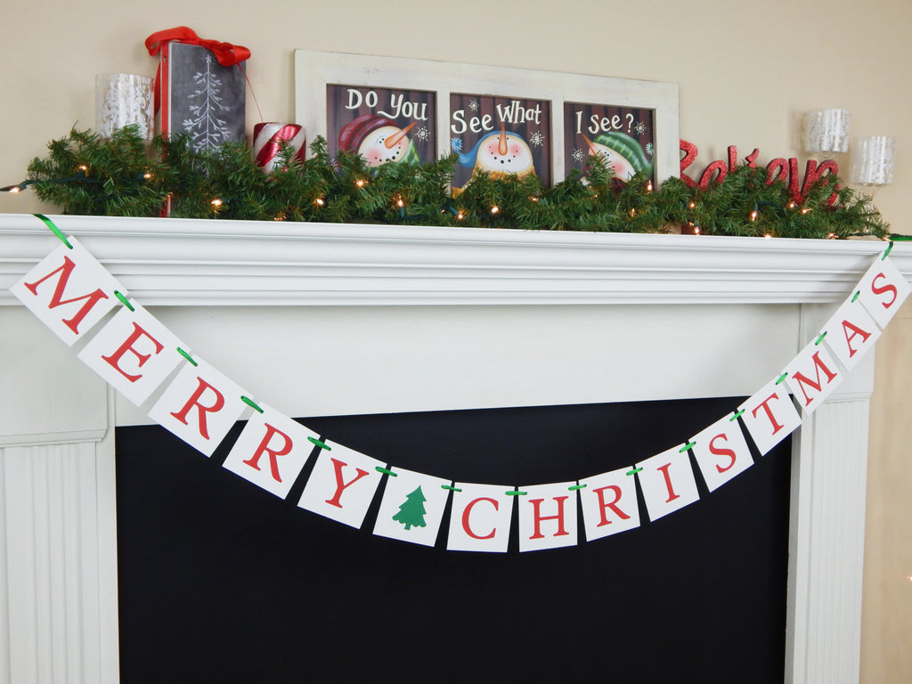 Merry Christmas Banner, Christmas sign, holiday decorations, holiday living room bunting, fireplace mantel garland, Christmas decorations