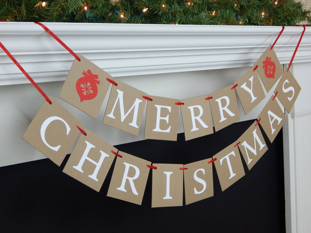 Merry Christmas Banner, rustic Christmas decorations, fireplace mantel holiday decor, red Christmas ornament garland garland