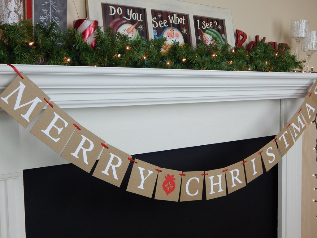 Merry Christmas Banner, rustic country holiday decor, holiday sign, living room fireplace mantel garland, Christmas ornament decorations
