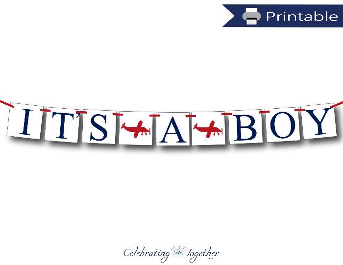 printable it's a boy banner - airplane baby shower decoration - Celebrating Together