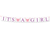 diy butterfly it's a girl banner - printable baby shower decoration - Celebrating Together