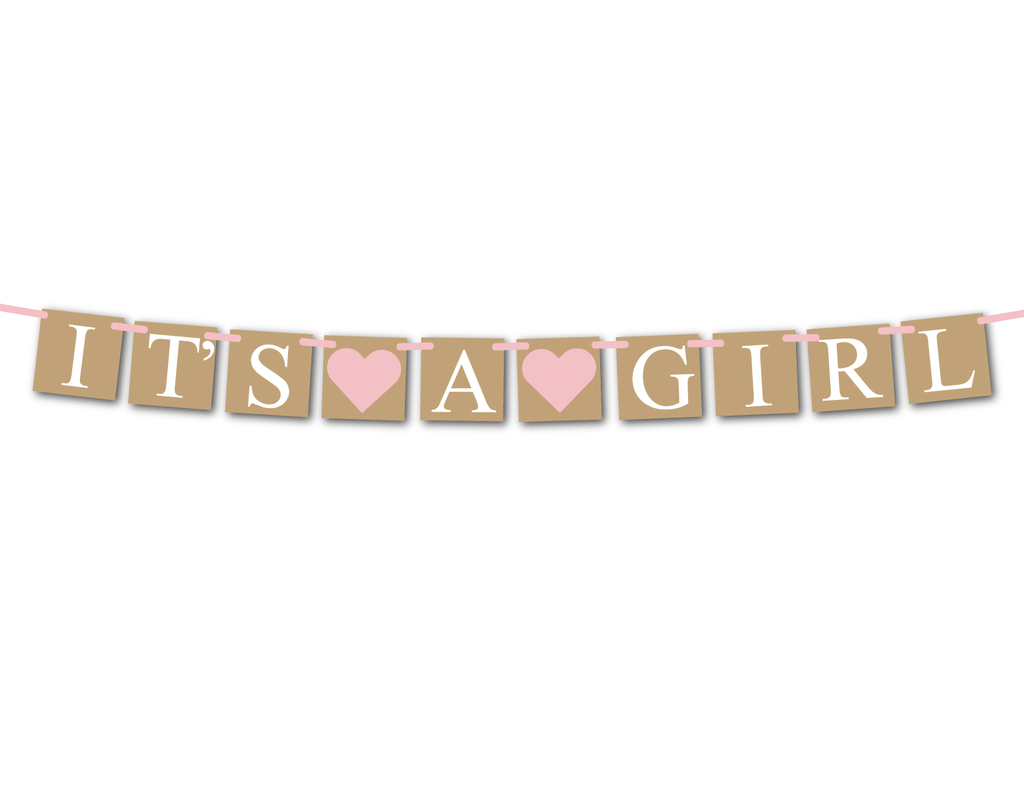 DIY rustic it's a girl banner - Celebrating Together