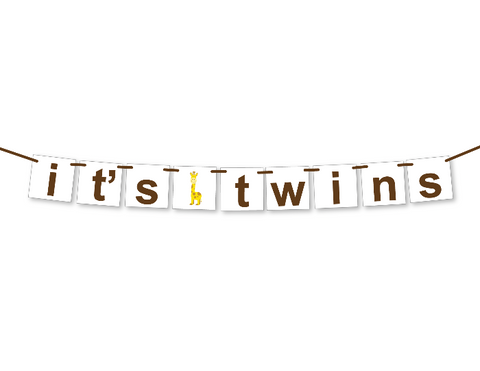 printable it's twins banner - zoo baby shower decoration - Celebrating Together