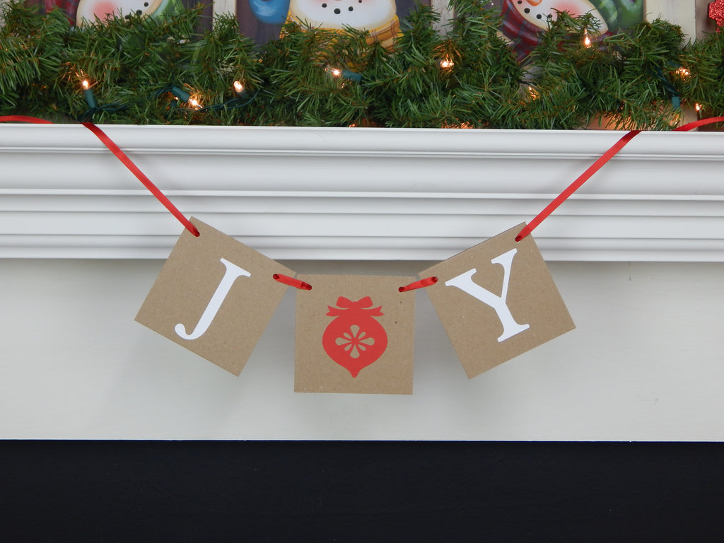 Rustic joy banner - Chic Christmas home decor - Celebrating Together