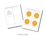 printable pages with lions for safari birthday party banner - Celebrating Together