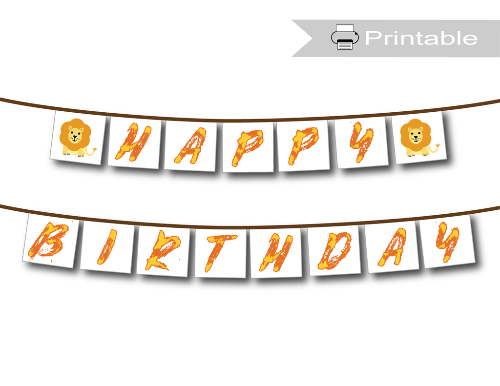 printable happy birthday banner - lion theme - Celebrating Together