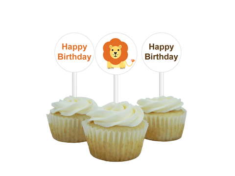printable lion birthday cupcake toppers - Celebrating Together