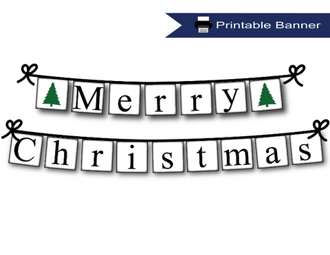 photo regarding Printable Merry Christmas Banner named Xmas Tree Printable Merry Xmas Banner