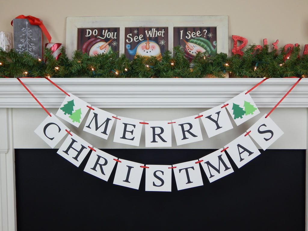 Merry Christmas banner with evergreen trees - Celebrating Together