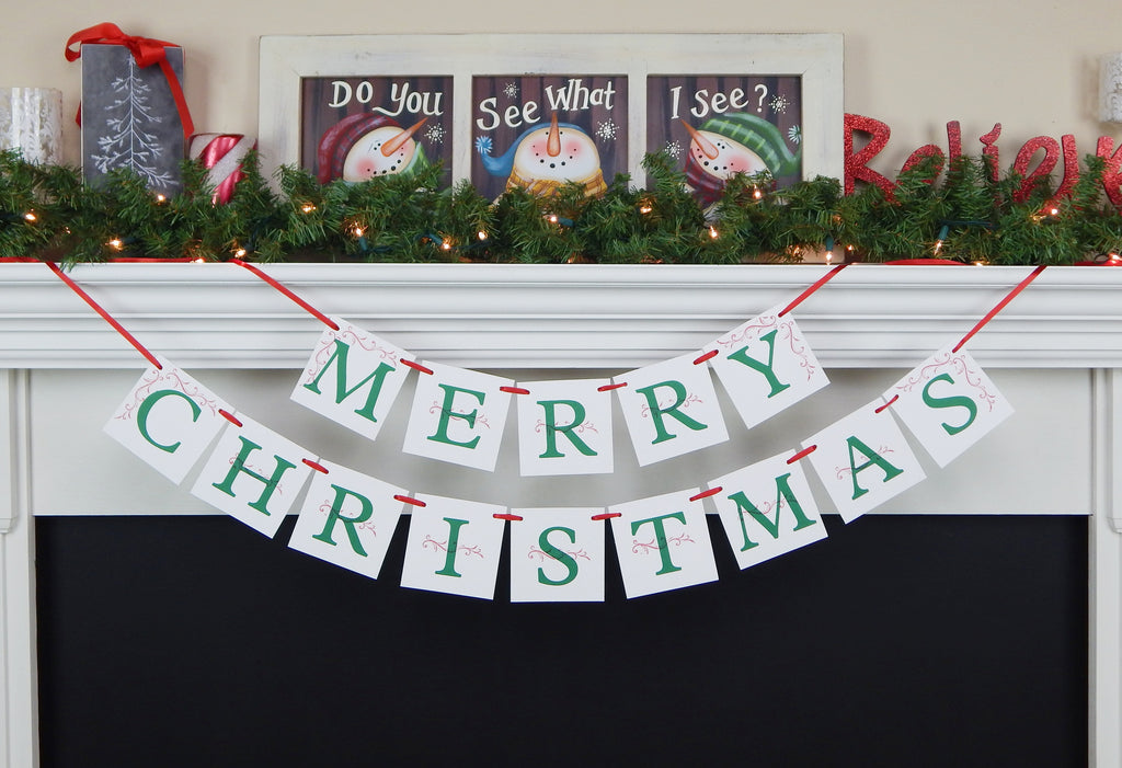 Festive Merry Christmas banner - Christmas Decorations - Celebrating Together