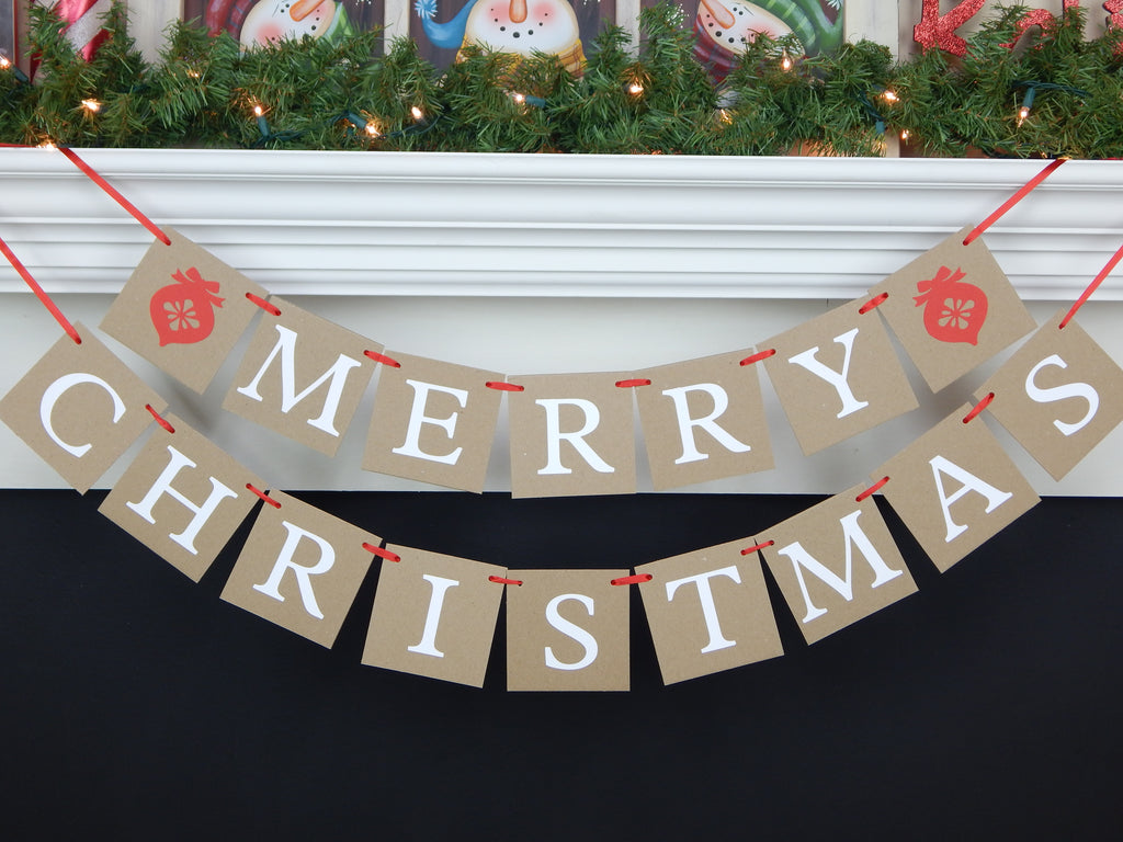 Merry Christmas Ornament Banner - Rustic Home Holiday Decor - Celebrating Together