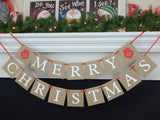 Rustic merry christmas banner - holiday mantel garland - Celebrating Together