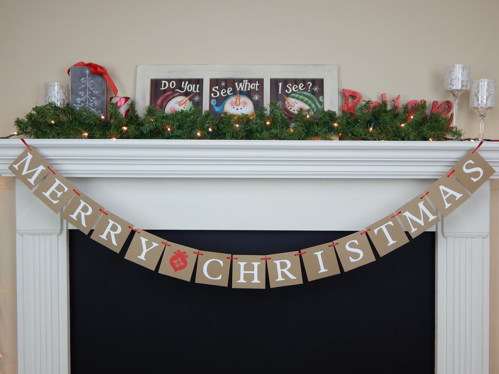 Rustic merry christmas banner - Christmas decoration for mantel - Celebrating Together