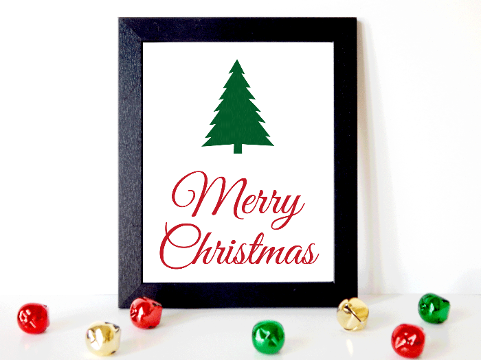 printable merry christmas wall art - diy evergreen christmas picture - Celebrating Together