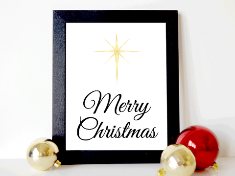 printable north star merry christmas wall art - DIY Christmas decor - Celebrating Together