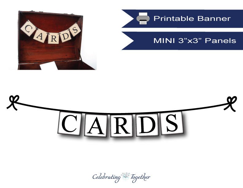Printable mini cards banner for weddings - Celebrating Together