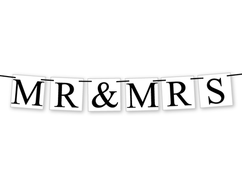 printable mr and mrs banner - wedding decor - Celebrating Together