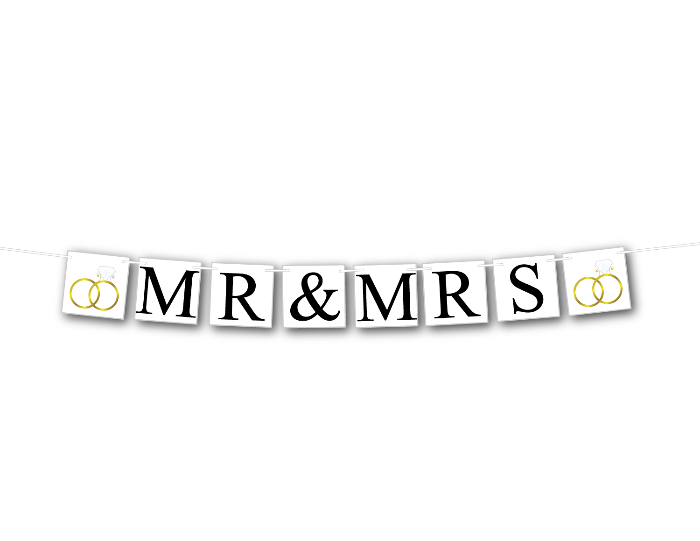 printable mr and mrs banner with gold wedding rings - Celebrating Together
